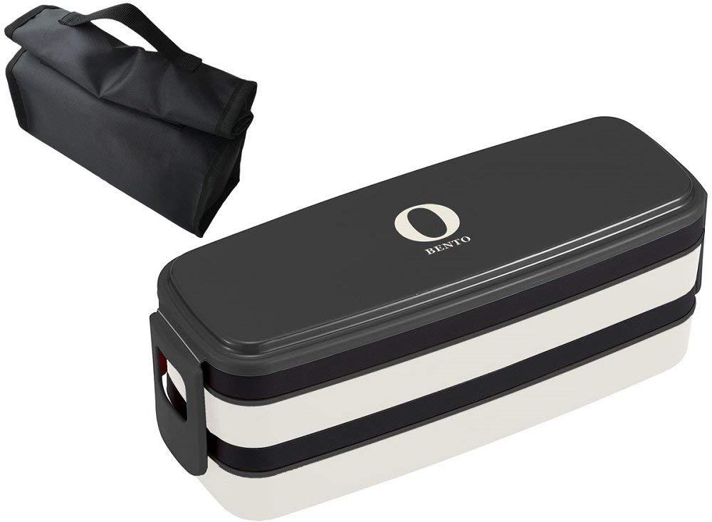 オーエスケー Black & White お弁当箱 2段 ランチバッグ付 ブラック BLW-32HC